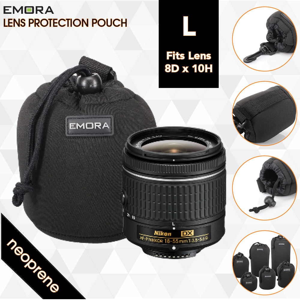 Emora L Neoprene protective camera lens pouch case with quick release, belt loop and fasten puller