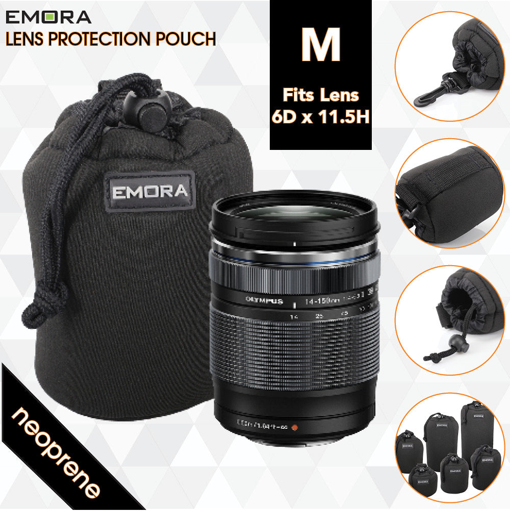 Emora M Neoprene protective camera lens pouch case with quick release, belt loop and fasten puller
