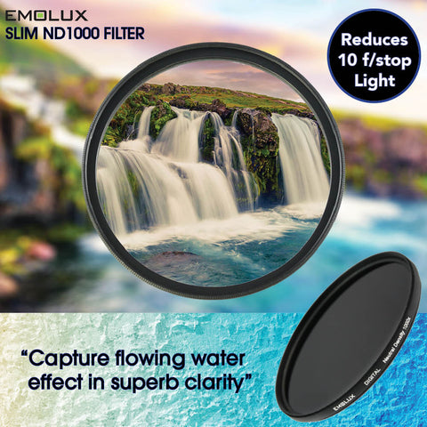 Emolux Digital SLIM ND1000 Neutral Density Optical Glass Camera Lens Filter