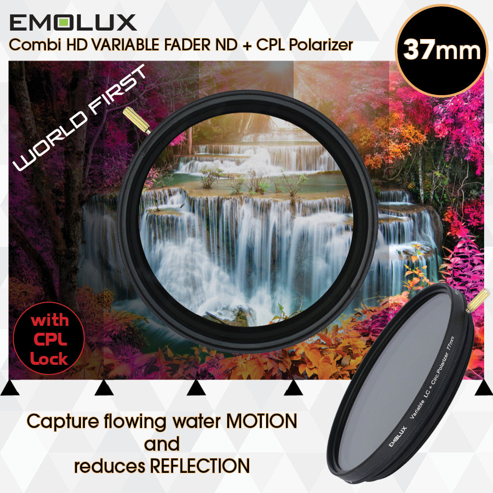 Emolux Digital HD COMBI 2 in 1 Variable ND 2-400 + Circular Polarizer (CPL) Camera Lens Filter with Polarizing Lock