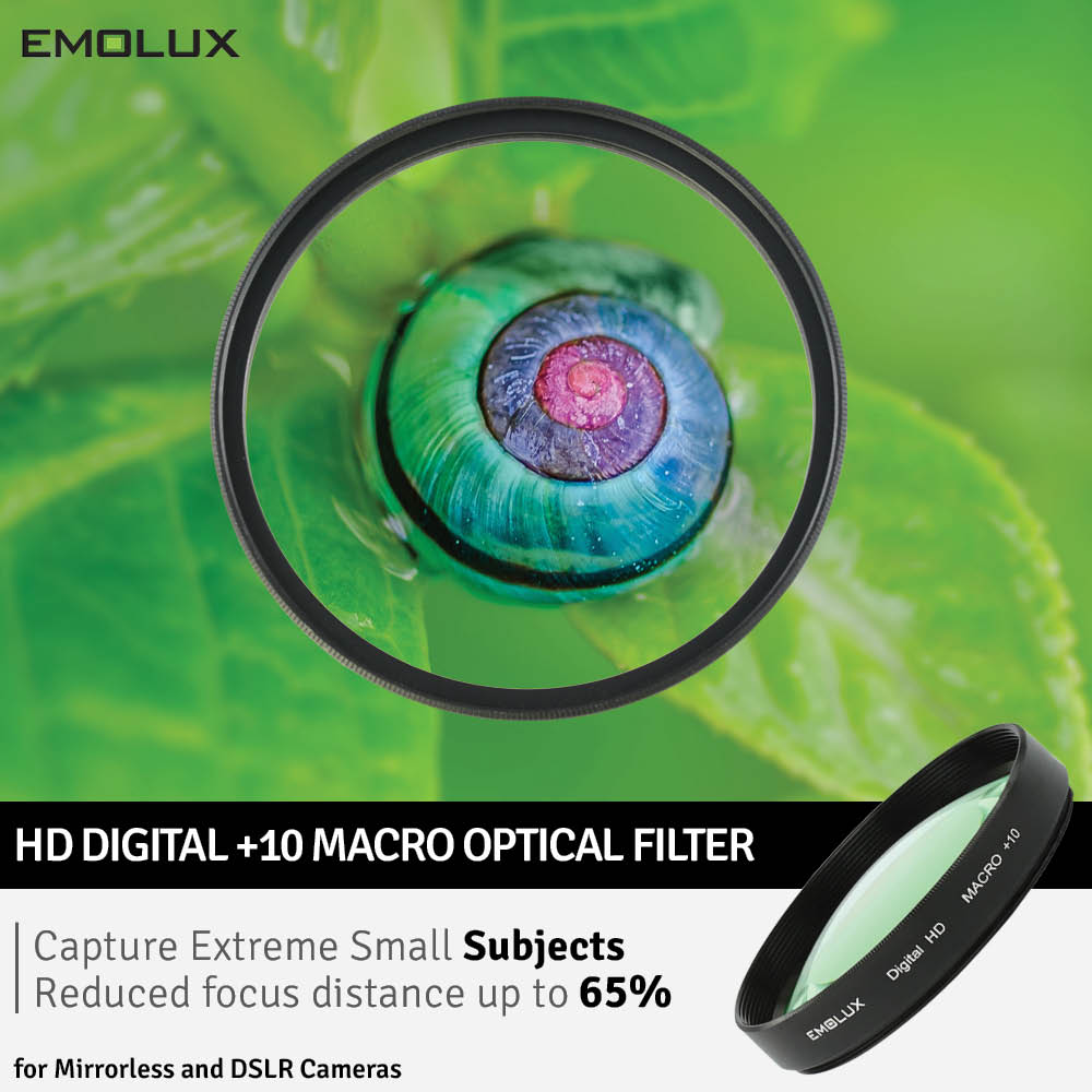 Emolux Digital HD Ultra Macro +10 Optical Closeup Camera Lens Filter for Mirrorless and DSLR Cameras