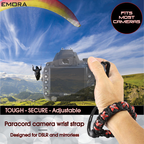 Emora TOUGH Universal Cross Triple Stitched Paracord Wrist Camera Strap for Mirrorless and DSLR
