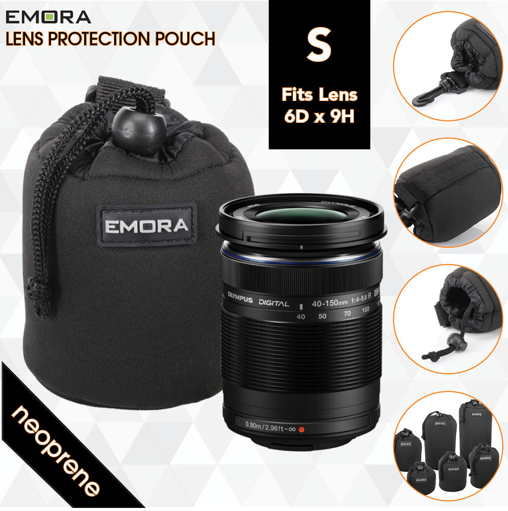 Emora S Neoprene protective camera lens pouch case with quick release, belt loop and fasten puller