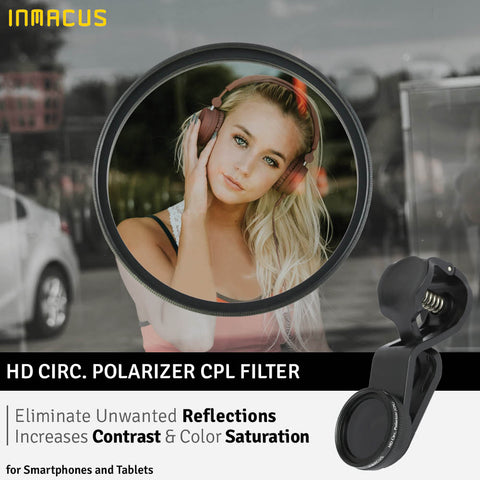Inmacus Universal HD Circ. Polarizer CPL Optical Glass Filter for Smartphone and Tablet