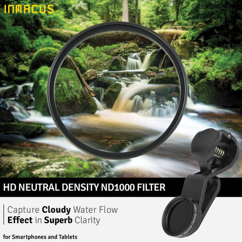 Inmacus Universal HD Neutral Density ND1000 Photo Filter for Apple iPhone iPad Samsung Pixel Huawei Oppo Android smartphones and tablets