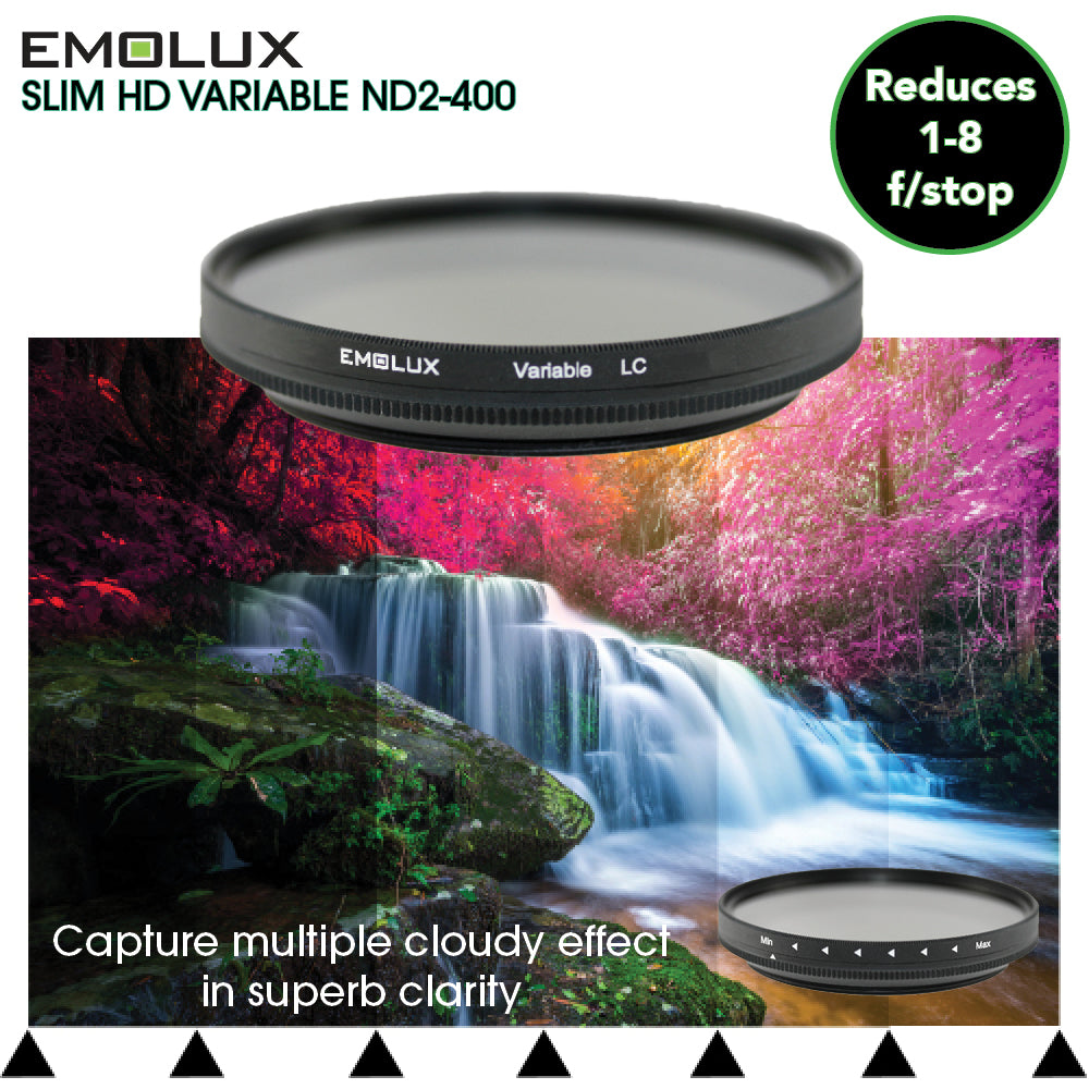 Emolux Digital SLIM HD Variable Fader ND 2-400 Filter for wide angle lens to telephoto up to 300mm