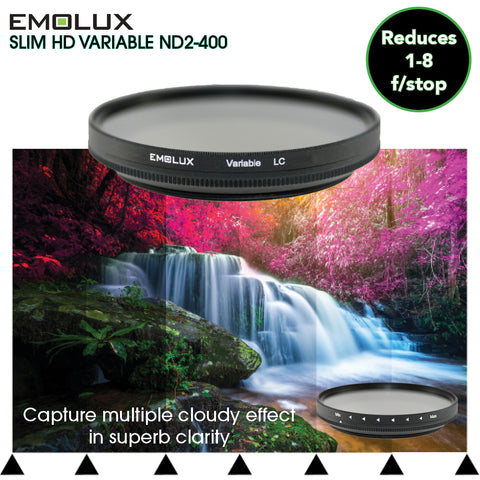 Emolux Digital SLIM HD Variable Fader ND 2-400 Light Control Camera Lens Filter for wide angle lens to telephoto up to 300mm