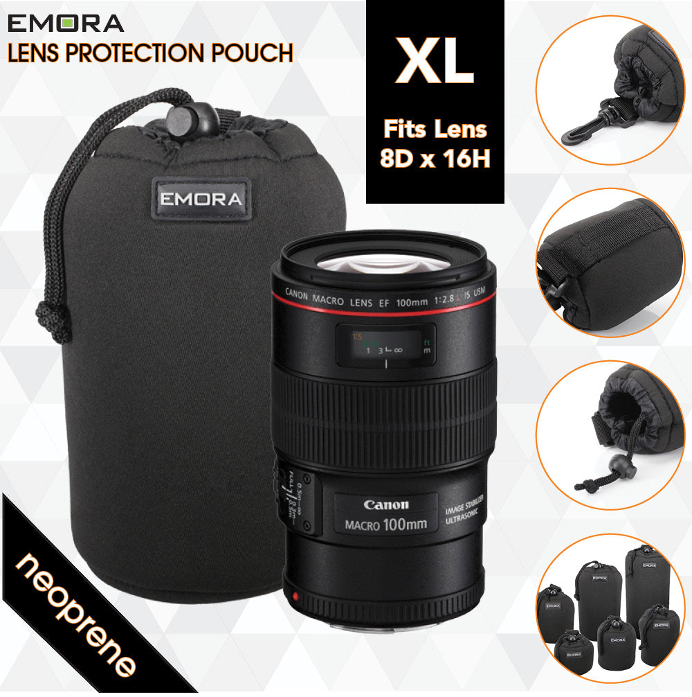 Emora XL Neoprene protective camera lens pouch case with quick release, belt loop and fasten puller