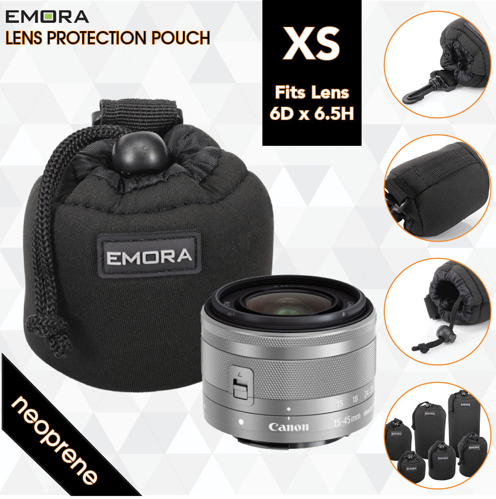 Emora XS Neoprene protective camera lens pouch case with quick release, belt loop and fasten puller