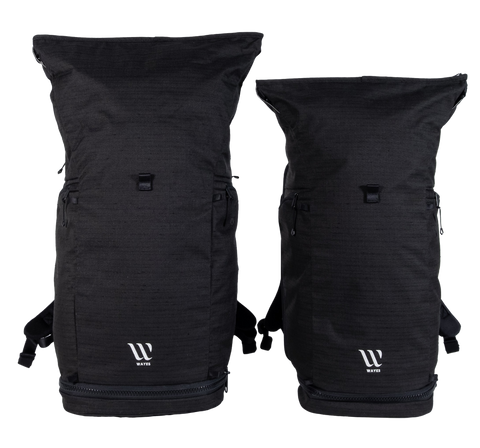 WAYKS Day Pack size comparison Original and Compact front top filled