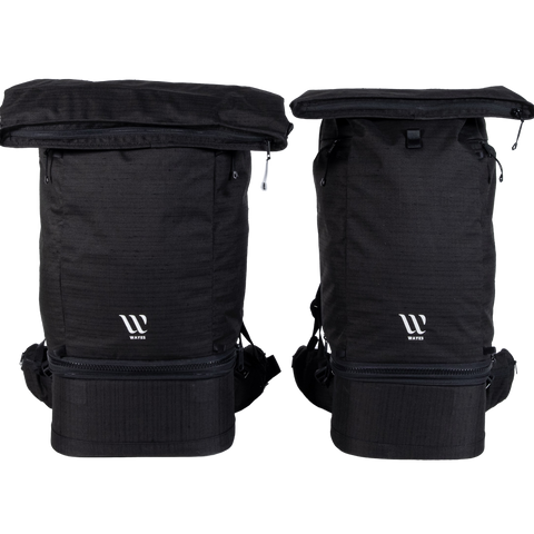 WAYKS Travel Backpack size comparison Original and Compact front top folded
