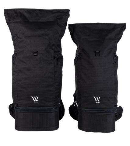 WAYKS Travel Backpack size comparison Original and Compact front top filled