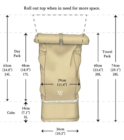 WayksOne Travel Backpack Compact dimensions