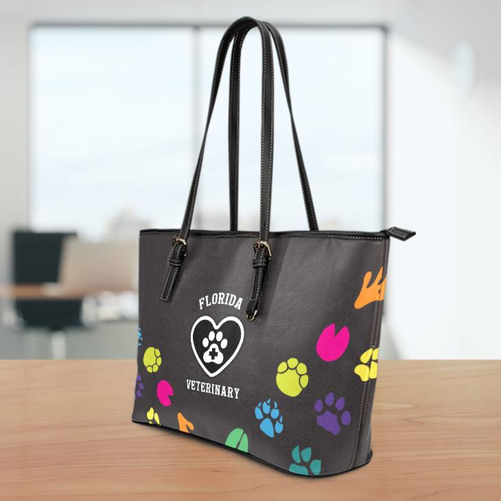 FL Veterinary Small Leather Tote Bag