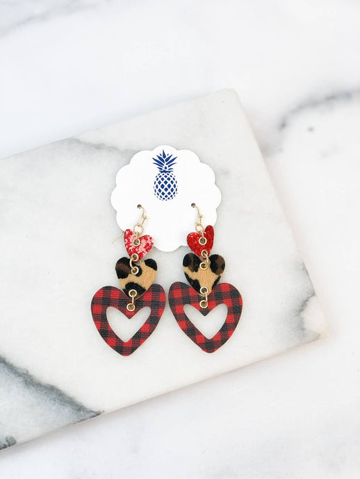 Triple Heart Dangle Earrings - Leopard