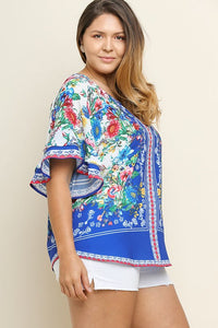 Tropical Floral Top with Layered Short Sleeves