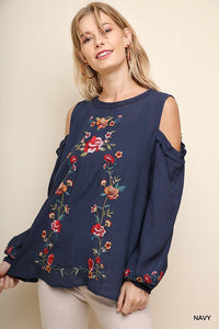 Floral Cold Shoulder Puff Sleeve Top - Navy