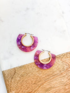 Violet Acrylic Hoop Earrings