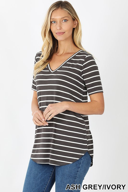 Striped V-Neck Short Sleeve Top - Regular Sizes - DAILY DEAL!!!