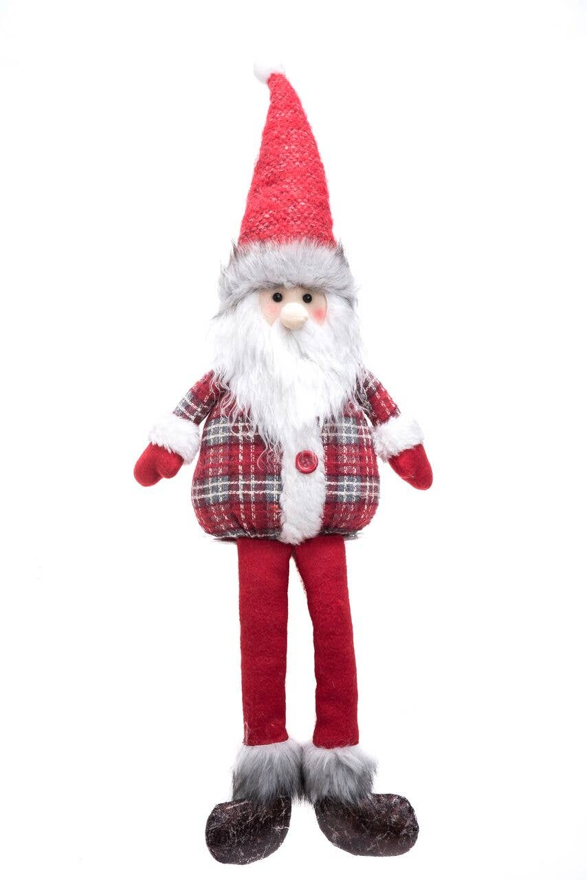 Plush Red & Grey Christmas Shelf Sitter