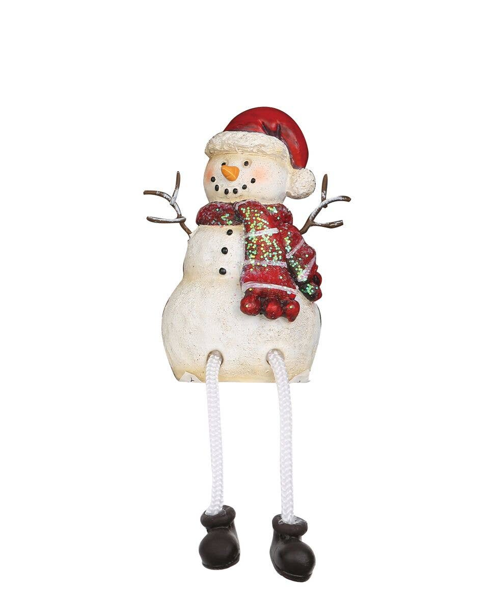 Resin Snowman With Santa Hat Shelf Sitter