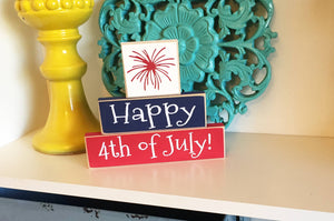Happy 4th of July Stacked Blocks