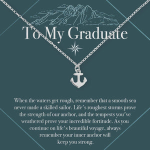 Dear Ava - Silver Anchor Graduation Necklace