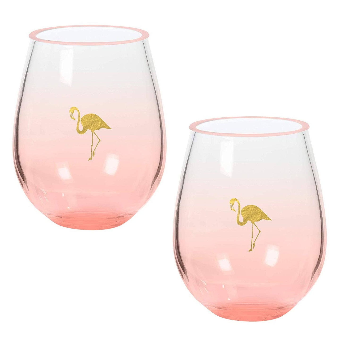 Gold Flamingo Double Stemless Wine