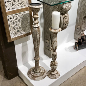 Lexington Carved Wood Candle Holder