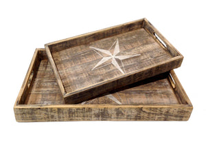 Set Of 2 Wood Star Trays