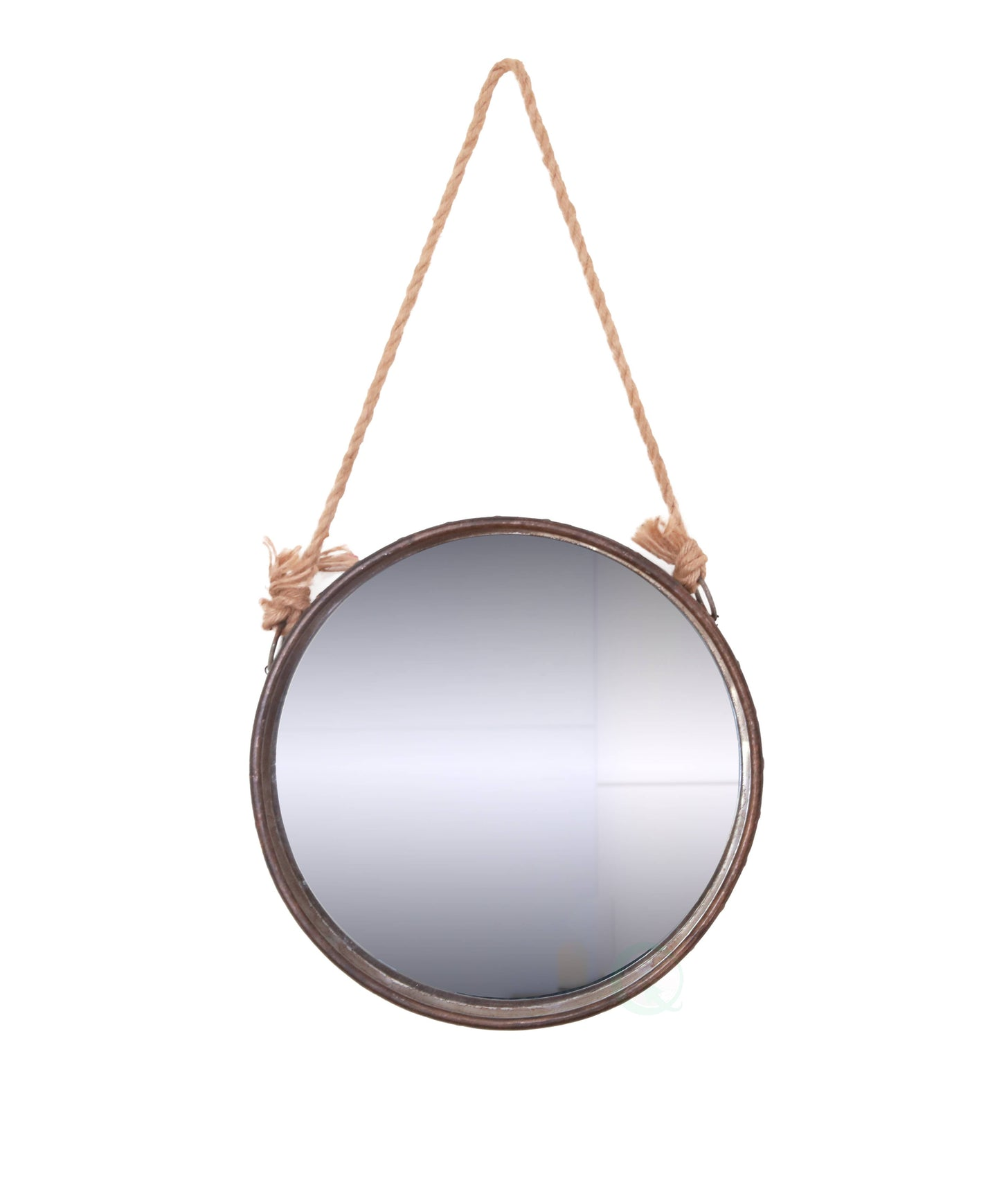 Galvanized Metal Framed Round Wall Mirror With Rope