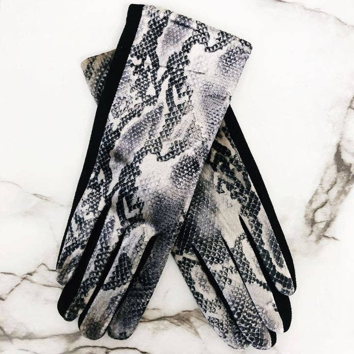 Snakeskin Print Texting Smart Gloves