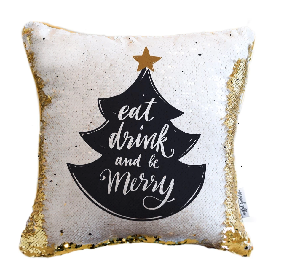Eat, Drink, Be Merry Holiday Reversible Sequin Pillow