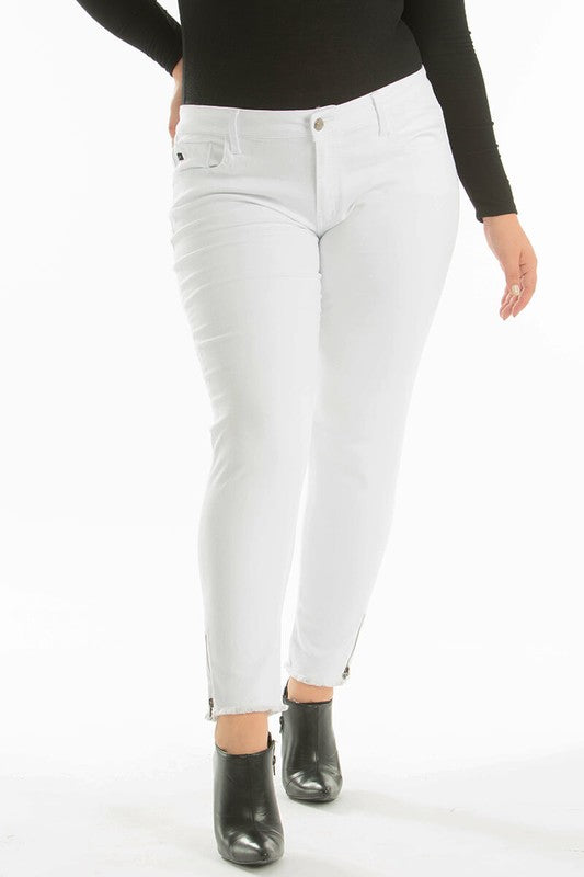 KanCan Ankle Zipper White Jeans