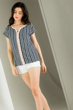 Aztec Print with Striped Detail Short Sleeve Top
