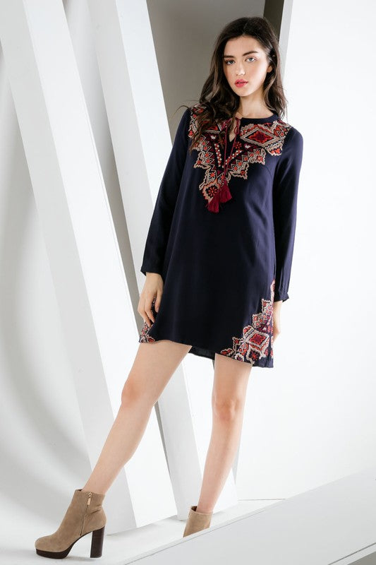Long Sleeve Peasant Dress w/ Embroidered Center