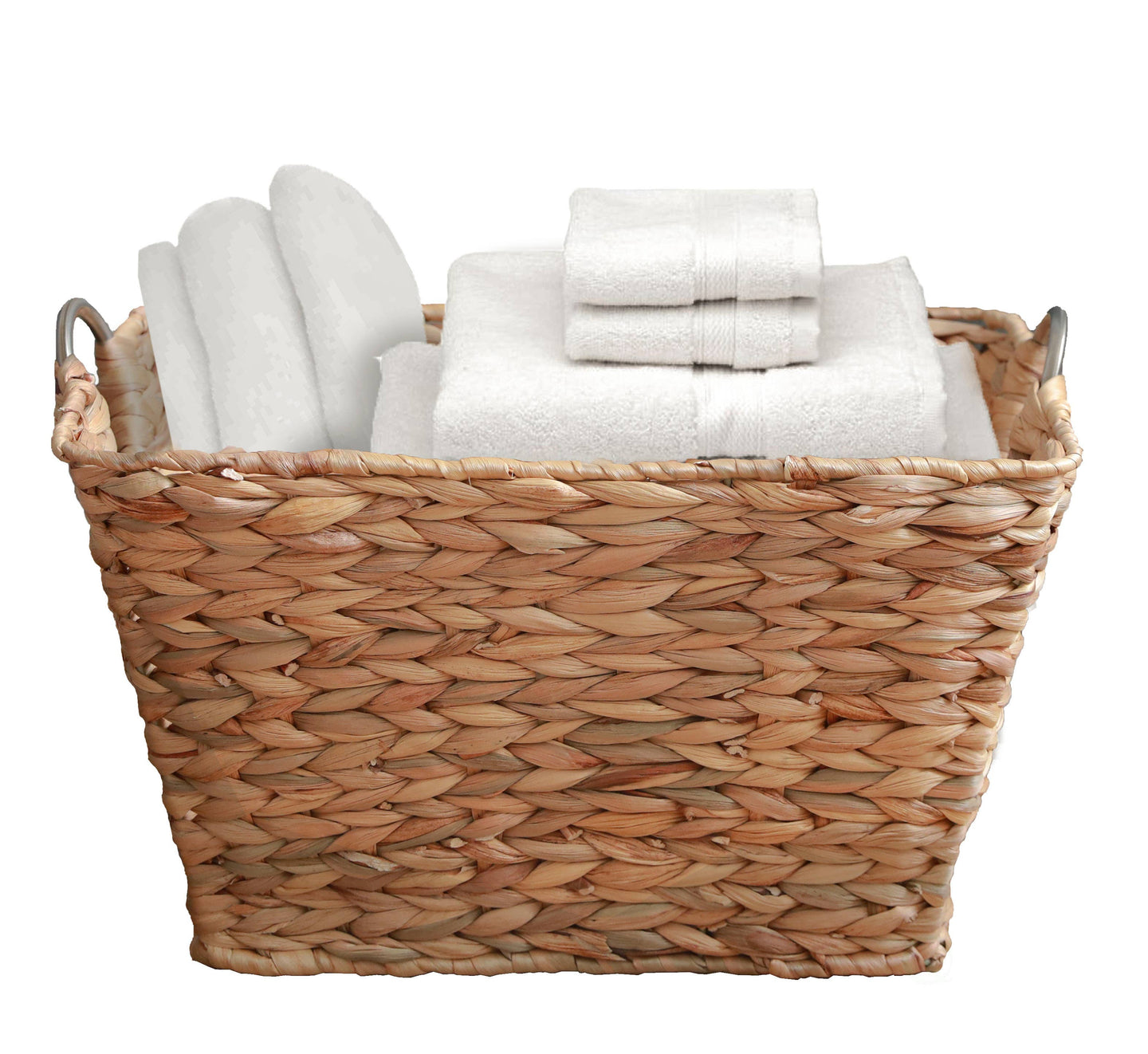 Vintiquewise - Hyacinth Wicker Large Square Laundry Basket with Handles