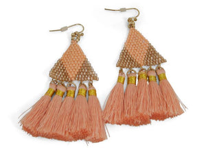 Coral Statement Earrings W/ Tassels - Erimish