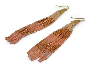 Coral Beaded Tassel Earrings - Erimish