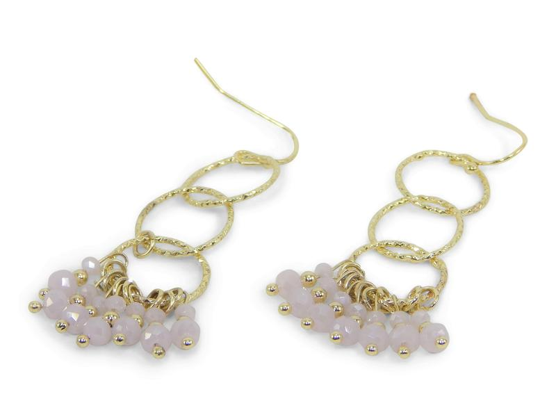 Pink and Gold Dangle Earrings - Erimish