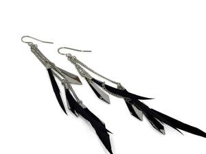 Black Feather Earrings - Erimish
