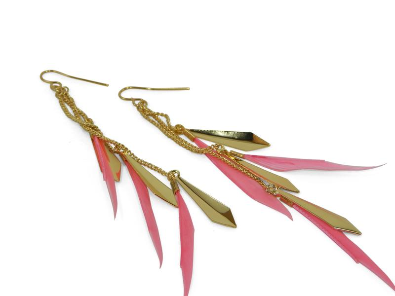 Pink Feather Earrings - Erimish