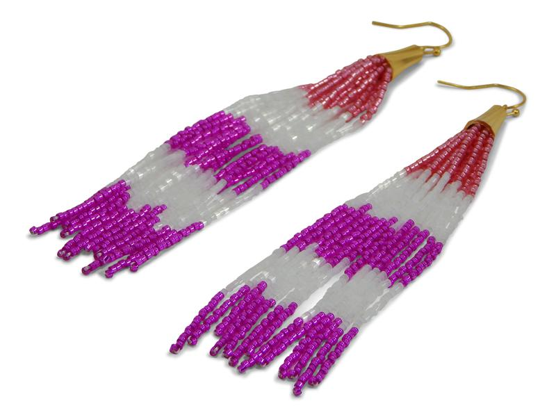 Pink Beaded Tassel Earrings - Erimish