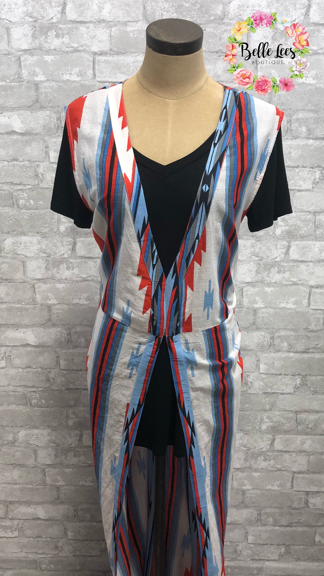Blue, Orange and Cream Printed Long Vest