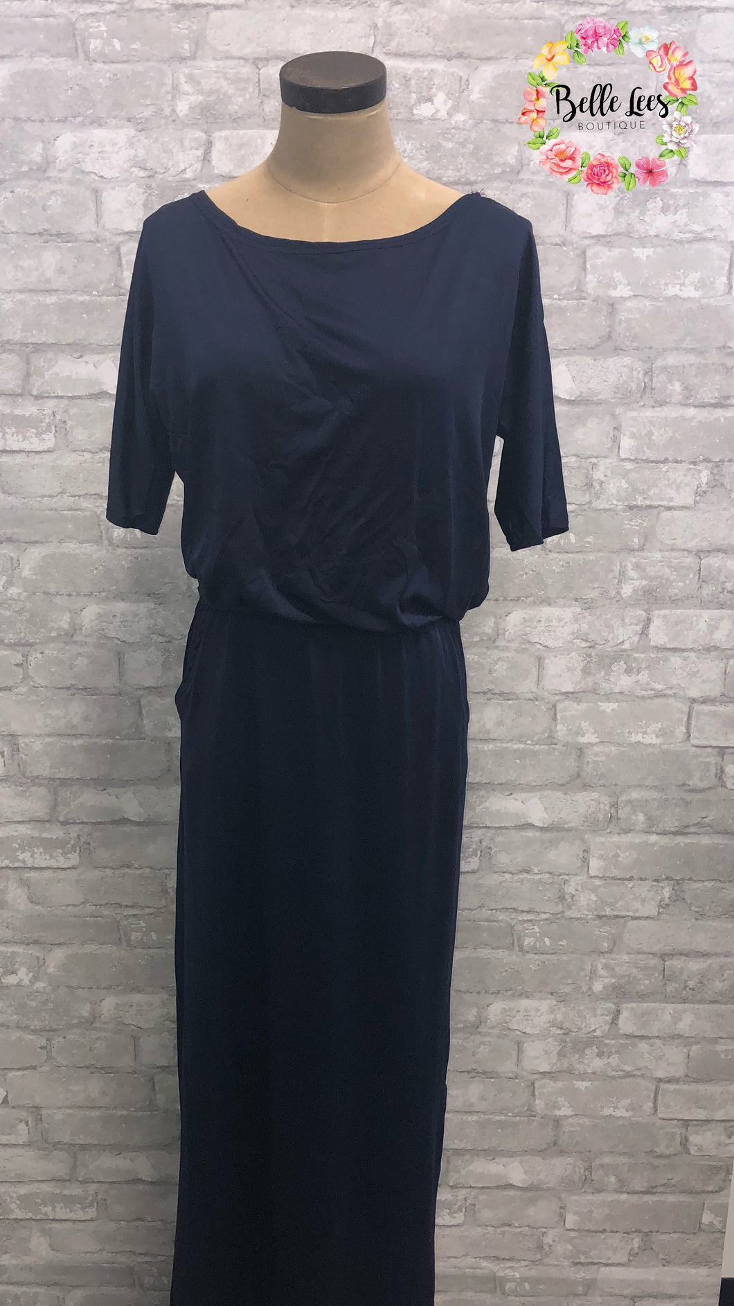 Navy Sleeved Maxi with Pockets