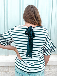 Embroidered Sleeve Striped Knit Top W/ Back Tie Detail