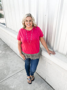Short Sleeve Tunic Animal Print Top W/ Ruffle Details