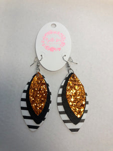 Leather Triple Stack Patterned Earrings