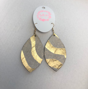 Leather Cowhide Gold Wash Earrings