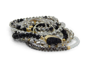 Silver and Black Metal Stack Bracelets